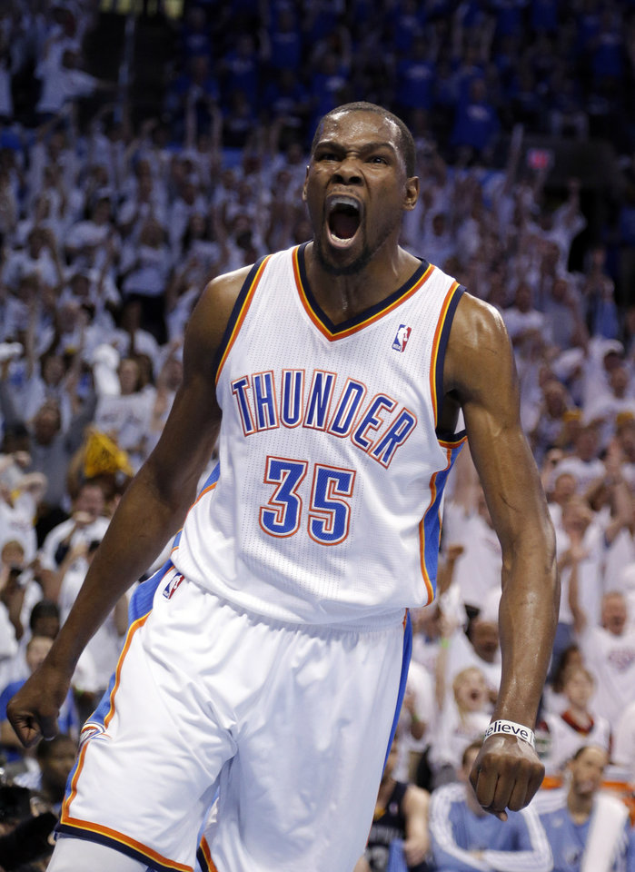 NBA BASKETBALL / CELEBRATION: Oklahoma City's Kevin Durant (35) celebrates a dunk in Game 2 in the second round of the NBA playoffs between the Oklahoma City Thunder and the Memphis Grizzlies at Chesapeake Energy Arena in Oklahoma City, Tuesday, May 7, 2013. Memphis won 99-93.Photo by Sarah Phipps, The Oklahoman