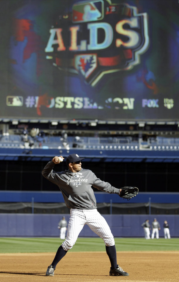 New York Yankees' Alex Rodriguez warms up before Game 5 of the American League division baseball series against the Baltimore Orioles Friday, Oct. 12, 2012, in New York. 2012. Rodriguez, who is 2 for 16 with nine strikeouts in the series, was benched for Game 5. (AP Photo/Kathy Willens)
