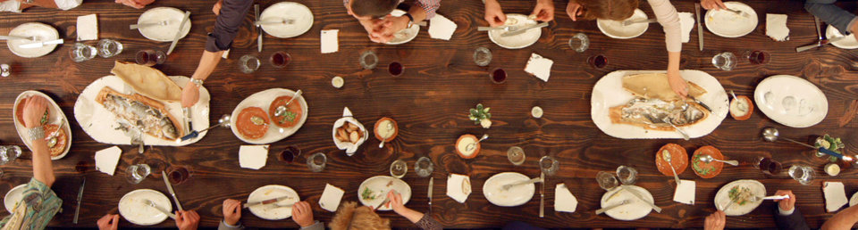 "Photo - This 2014 photo provided by the Philadelphia Art Alliance shows diners eating a $150, seven-course meal called ""Table d'Hote"" at the Philadelphia Art Alliance. The meal, created by chef Pierre Calmels, is served on fine ceramic pottery created by artist Gregg Moore. Moore says the art _ part of a movement called social practice art _ is created by the experience of the food, ceramics, museum space and people sharing the meal. Visitors can also see the table set with Moore's pottery in a show at the museum called ""Heirloom."" (AP Photo/Philadelphia Art Alliance)"