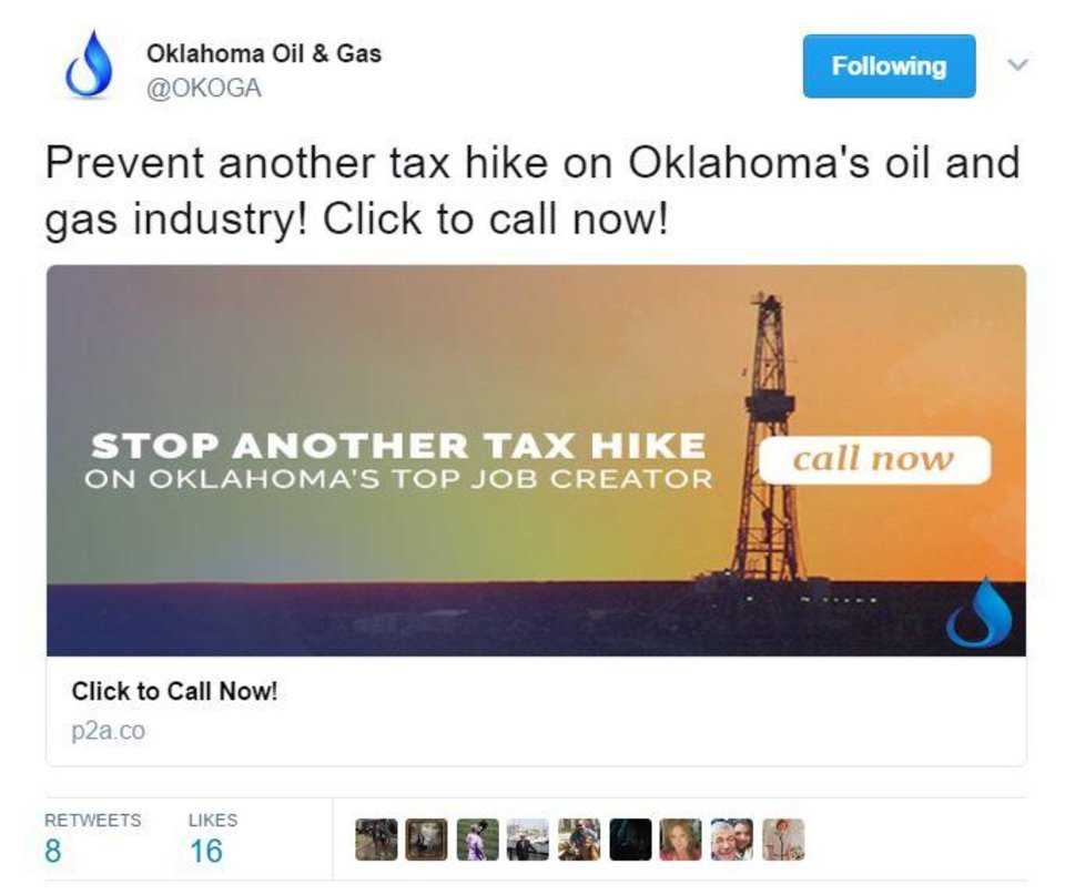 Photo - A screenshot of a sponsored tweet from the Oklahoma Oil and Gas Association.