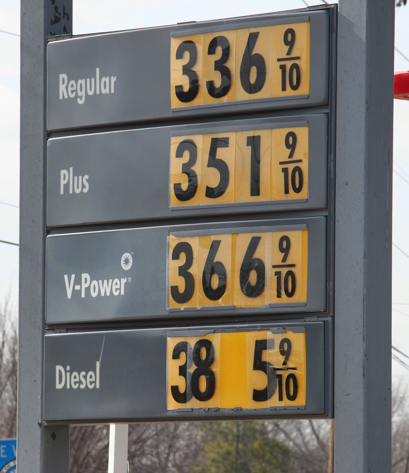 Gas prices at a station on Britton Rd. near Western, Friday, January 25, 2013.   Photo By David McDaniel/The Oklahoman