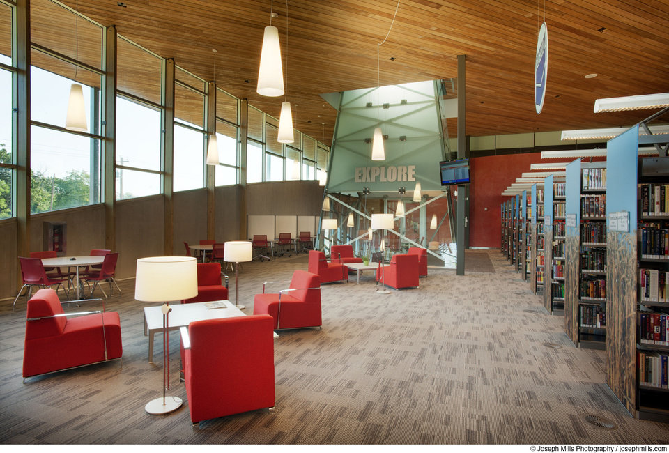 LWPB Architecture designed Patience S. Latting Northwest Library, 5600 NW 122. The adult reading area is shown.