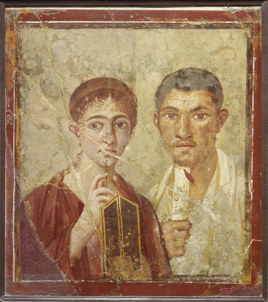 Photo -   Undated handout photo issued by the British Musuem Thursday Sept. 20, 2012 of a wall painting of the baker Terentius Neo and his wife, from the House of Terentius Neo, Pompeii, AD 50-79. as dozens of objects recovered from the ruins of Roman cities Pompeii and Herculaneum will go on show outside Italy for the first time at a new exhibition at the museum. The two cities on the Bay of Naples were wiped out by the eruption of Mount Vesuvius in 79 AD. The show will feature objects found in their ruins including jewellery, carbonised food and a baby's crib that still rocks on its curved runners. The exhibition will run March 28 to Sept. 29, 2013. (AP Photo/The Trustees of the British Museum)
