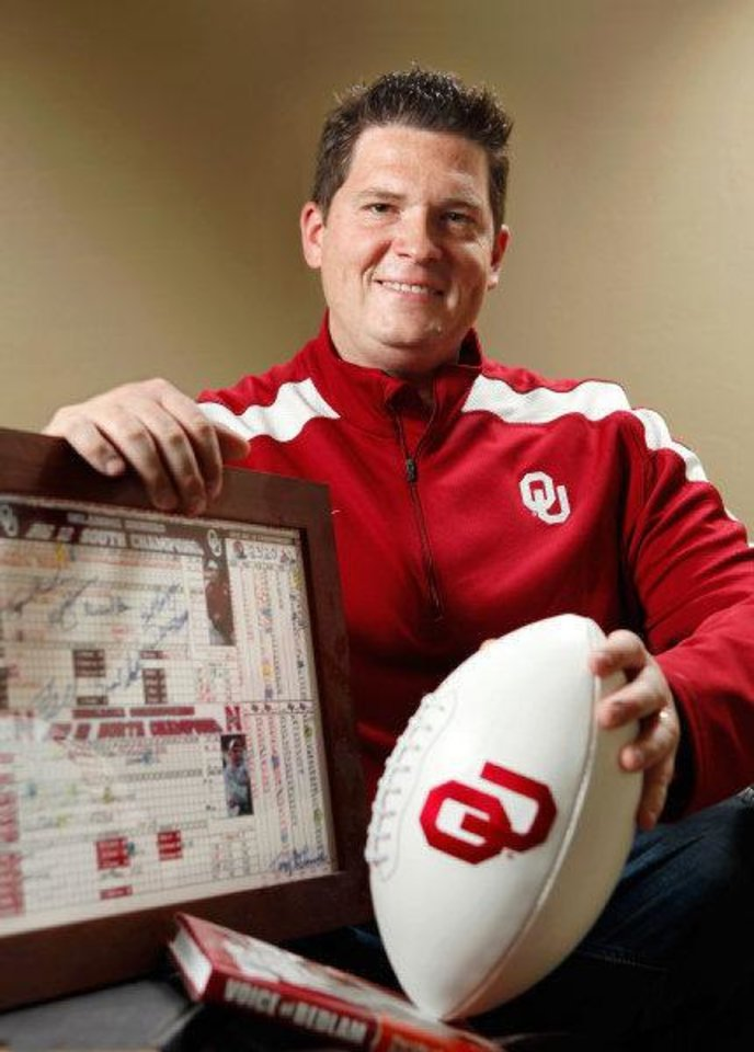 Toby Rowland poses in his home  Friday, April 15, 2011. Rowland has been chosen to succeed Bob Barry as the broadcast voice of the University of Oklahoma (OU) Sooners college football program. Photo by Jim Beckel, The Oklahoman <strong>JIM BECKEL - THE OKLAHOMAN</strong>