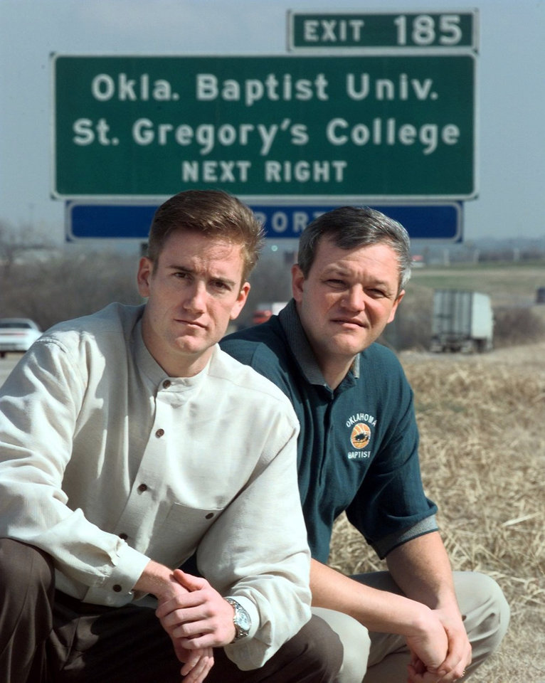 Photo - St. Gregory's basketball coach Bryndon Manzer and OBU basketball coach Bob Hoffman near Shawnee.
