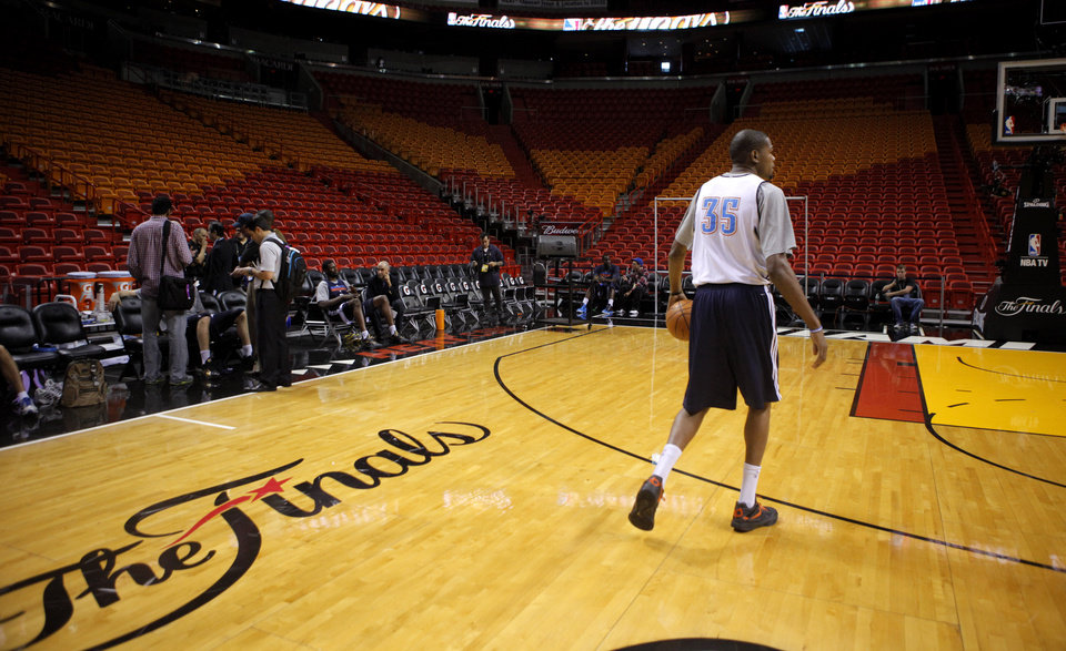 Oklahoma City\'s Kevin Durant walks dribbles across the court during practice for Game 5 of the NBA Finals between the Oklahoma City Thunder and the Miami Heat at American Airlines Arena, Wednesday, June 20, 2012. Photo by Bryan Terry, The Oklahoman