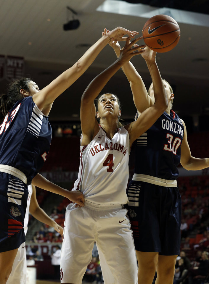Photo - Gonzaga's Lindsay Sherbert (33) and Stephanie Golden (30) fight Oklahoma Sooner's Nicole Griffi (4) for a rebound as the University of Oklahoma Sooners (OU) play the Gonzaga Bulldogs in NCAA, women's college basketball at The Lloyd Noble Center on Thursday, Nov. 14, 2013  in Norman, Okla. Photo by Steve Sisney, The Oklahoman