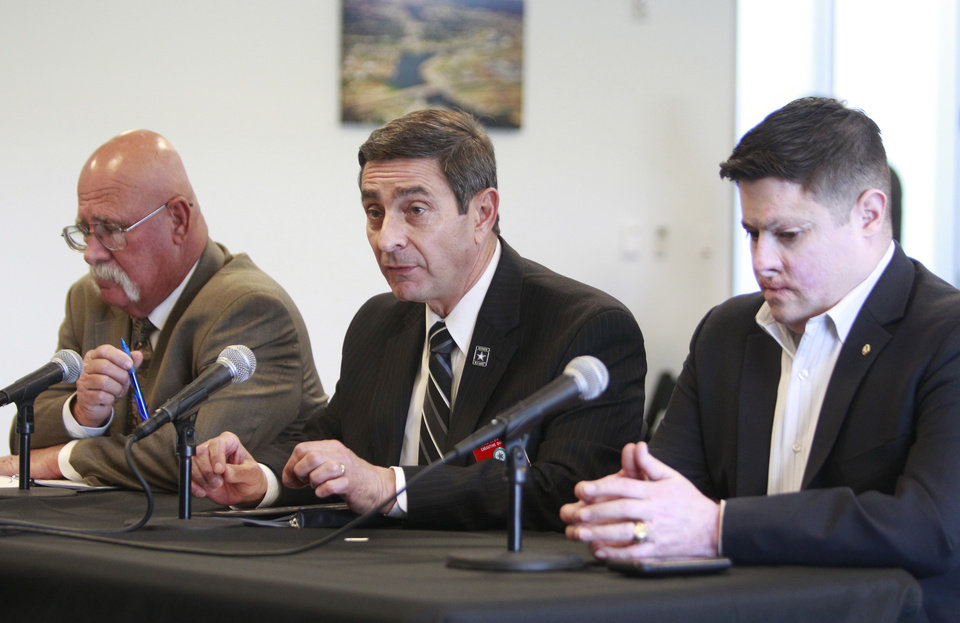 Photo - James Richman, left, Texas Veterans Commission's director of claims, representation and counseling, Thomas Palladino, center, Texas Veterans Commission's executive director, and Daniel Moran, right, commissioner at Texas Veterans Commission, testify to the Senate Committee on Veteran Affairs & Military Installation during a hearing at  the Bayport Container Terminal, Administration Building, Thursday, June 12, 2014, in Pasadena, Texas, (AP Photo/Houston Chronicle, Melissa Phillip)