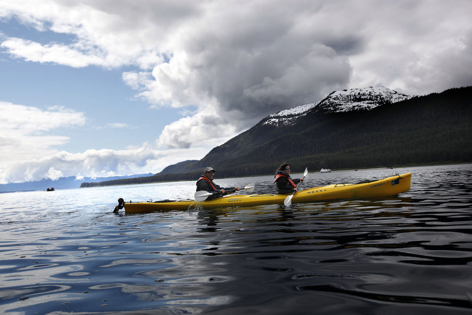 Kayakers explore Williams Cove in Southeast Alaska, Sunday, June 3, 2012.  Photo by Sarah Phipps, The Oklahoman