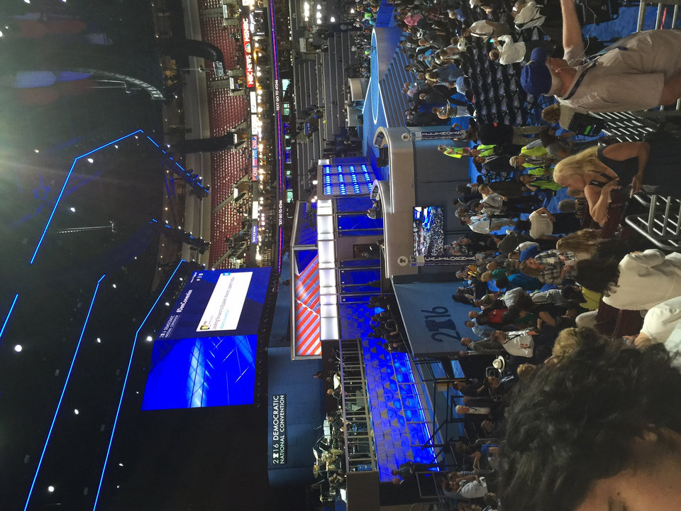 Photo - Convention Center Stage -- Photo via Bill Dower, an Oklahoma delegate attending the Democratic National Convention in Philadelphia.