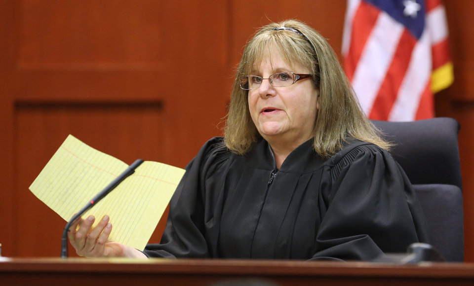 Judge Debra Nelson addresses attorneys after informing them that the jury had a question on instructions for a charge of manslaughter, on the 25th day of Zimmerman's  trial at the Seminole County Criminal Justice Center, in Sanford, Fla., Saturday, July  13, 2013. Zimmerman has been charged with the 2012 shooting death of Trayvon Martin.(AP Photo/Orlando Sentinel, Joe Burbank, Pool) ORG XMIT: FLJR229
