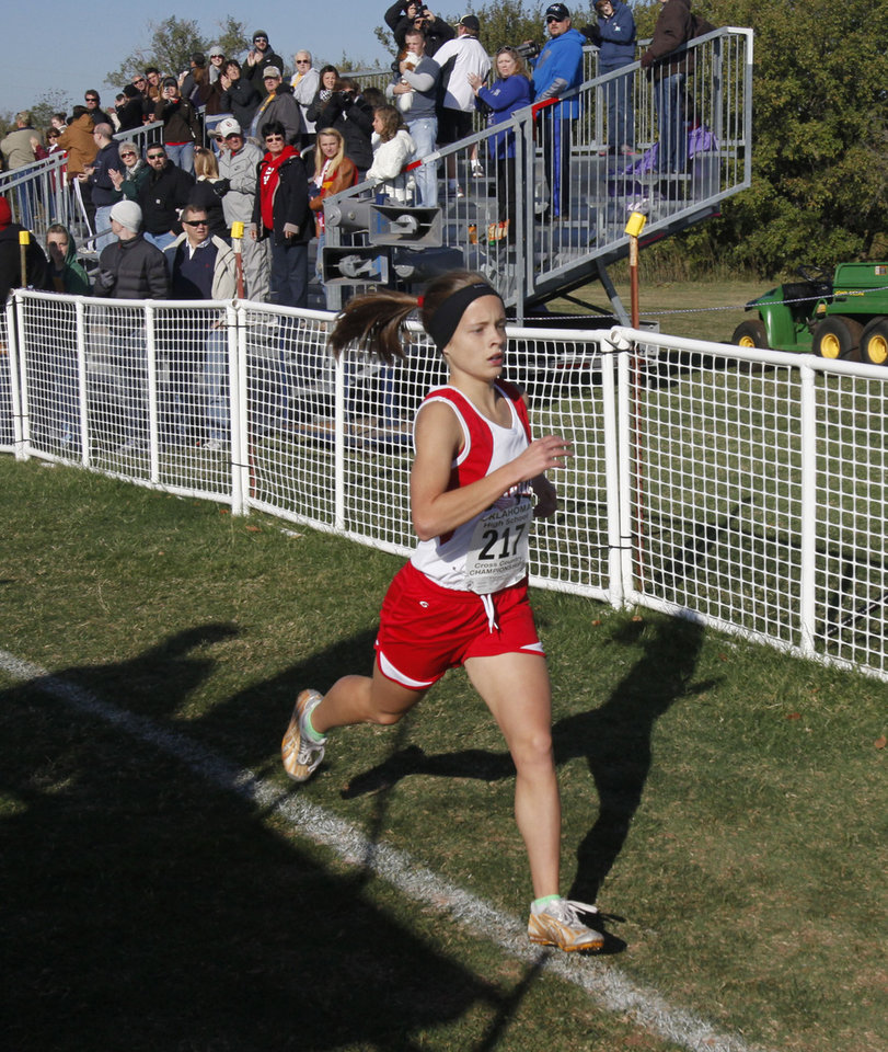 Stilwell's Sydney Lawrence wins the Girls 4A State Cross Country Finals at Edmond Santa Fe High School in Edmond, OK, Saturday, October 27, 2012,  By Paul Hellstern, The Oklahoman