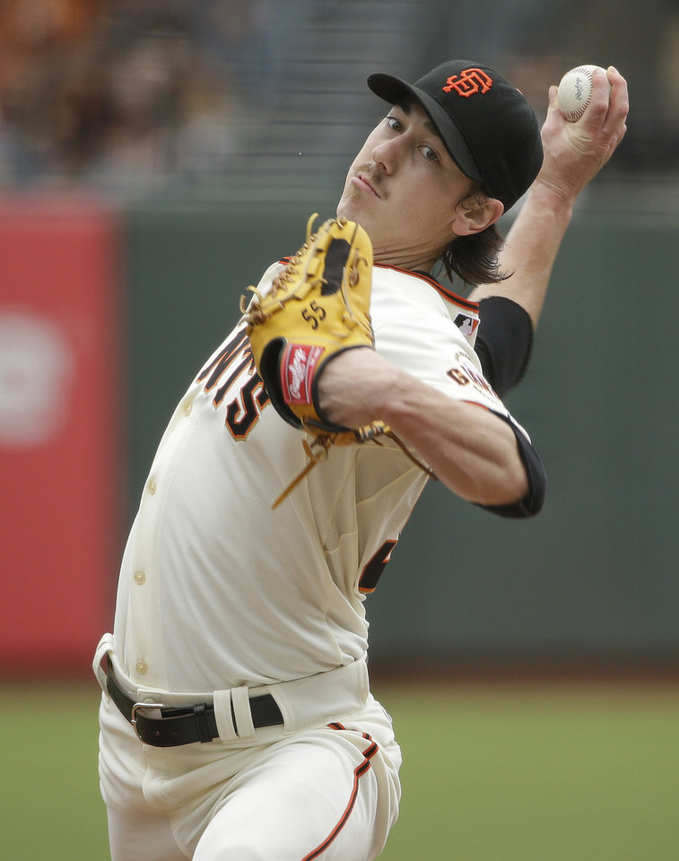 Photo - San Francisco Giants starting pitcher Tim Lincecum throws against the San Diego Padres in the first inning of their baseball game Wednesday, June 25, 2014, in San Francisco. (AP Photo/Eric Risberg)