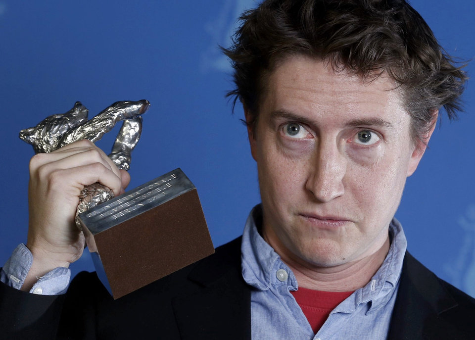 Director David Gordon Green poses backstage with his Silver Bear award for Best Director for the movie