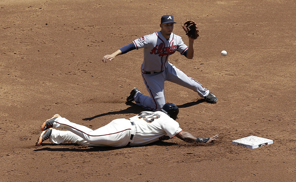 Photo - San Francisco Giants' Pablo Sandoval (48) slides into second base to beat a pick-off attempt by Atlanta Braves pitcher Julio Teheran to shortstop Andrelton Simmons, rear, during the first inning of a baseball game in San Francisco, Wednesday, May 14, 2014. (AP Photo)