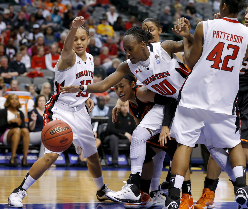 Oklahoma State's Tiffany Bias (3) goes for the ball between Texas Tech's Casey Morris (15) and Chynna Brown (00) during the Big 12 tournament women's college basketball game between Oklahoma State University and Texas Tech University at American Airlines Arena in Dallas, Saturday, March 9, 2012. Oklahoma State won 59-54.  Photo by Bryan Terry, The Oklahoman