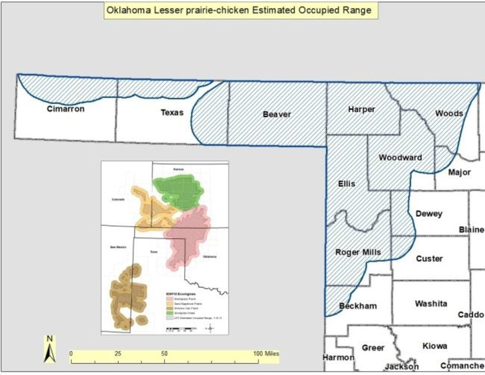 Photo -  This map shows the estimated rangeland for lesser prairie chickens in Oklahoma and surrounding states.