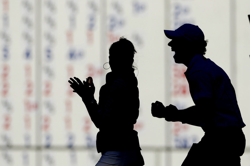 Europe's Rory McIlroy celebrates after winning the Ryder Cup PGA golf tournament Sunday, Sept. 30, 2012, at the Medinah Country Club in Medinah, Ill. (AP Photo/Chris Carlson) ORG XMIT: PGA341