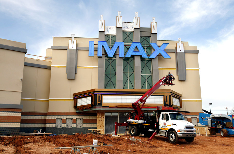 The Warren IMAX Theater nears completion on Wednesday, Feb. 1, 2012, in Moore, Okla.   The screen is 6 stories tall and weighs over 600 pounds. Photo by Steve Sisney, The Oklahoman