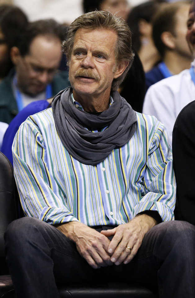 Photo - Actor William H. Macy attends an NBA basketball game between the Oklahoma City Thunder and the San Antonio Spurs at Chesapeake Energy Arena in Oklahoma City, Thursday, April 4, 2013. Photo by Nate Billings, The Oklahoman