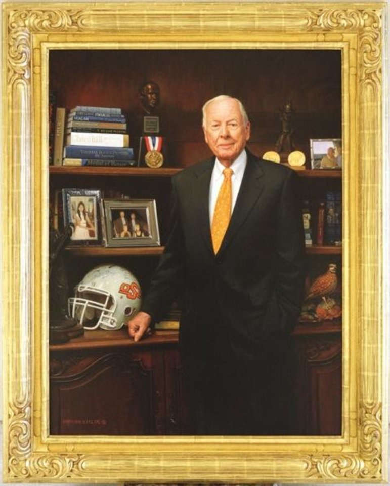 Photo - Born in Holdenville, Okla., T. Boone Pickens earned a geology degree from Oklahoma A&M in 1951 and became one of the nation's most successful oil and gas entrepreneurs. Named as one of the 20th century's most influential people in the petroleum industry, Pickens is among the most generous university benefactors of all time, contributing more than a half-billion dollars to his alma mater. The portrait was sponsored by Senator and former OSU President James Halligan.