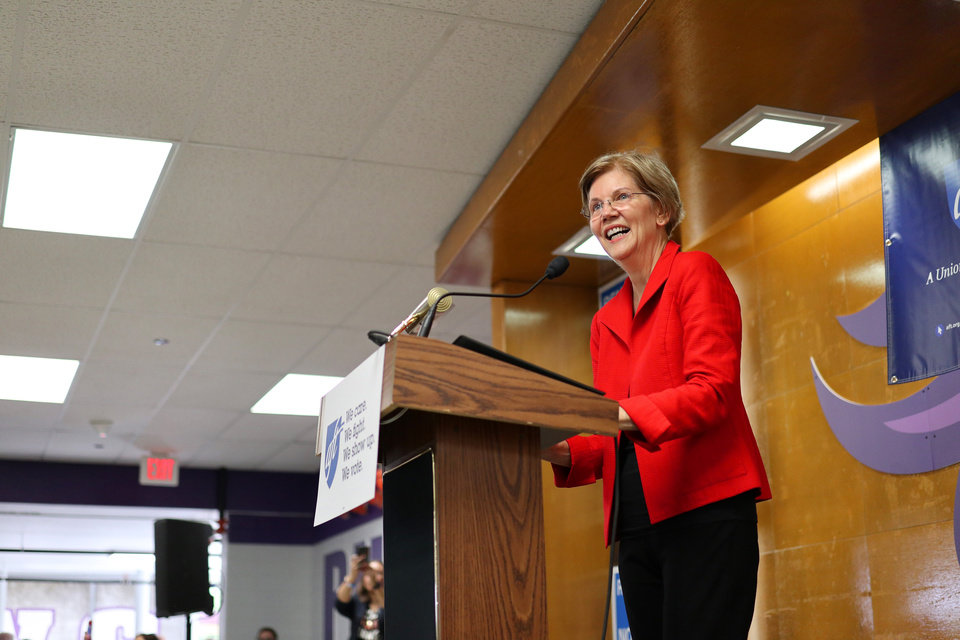 Photo - U.S. Senator and NWC Alum, Class of '66 Elizabeth Warren, the main speaker at the AFT education rally at Northwest Classen High School, Saturday, September, 22, 2018.  Photo by Doug Hoke, The Oklahoman