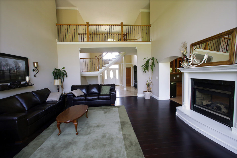Photo - This is an interior view of a luxury home listed at $1,029,900 on Wednesday, July 30, 2014, in Springfield, Ill. The home is located near The Rail Golf Course, on 5 acres of land, next to 66 acres of recreation zoned land and timber. (AP Photo/Seth Perlman)