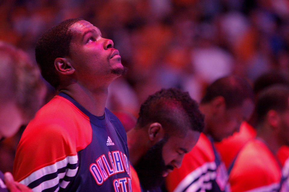 Oklahoma City\'s Kevin Durant (35) looks up during national anthem during Game 3 in the second round of the NBA basketball playoffs between the L.A. Lakers and the Oklahoma City Thunder at the Staples Center in Los Angeles, Friday, May 18, 2012. Photo by Nate Billings, The Oklahoman