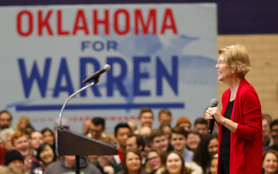 Photo - Elizabeth Warren fires up the crowd during an Elizabeth Warren campaign stop in Oklahoma City at Northwest Classen High School, her alma mater, Sunday, December 22, 2019. [Photo by Doug Hoke/The Oklahoman]