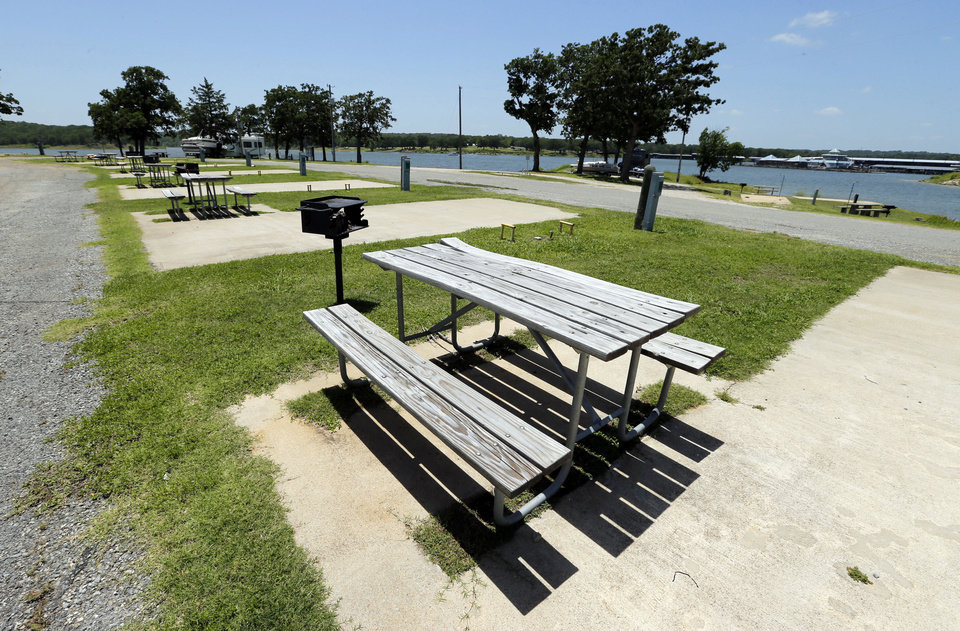 Empty campgrounds and a deserted marina on the lake show the effects of destruction of the Lake Texhoma Lodge and cabins and delay on construction of a new hotel June 12 in Kingston. Photo by Steve Sisney, The Oklahoman <strong>STEVE SISNEY</strong>