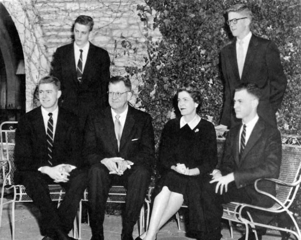 Photo - This undated photo provided by the Special Collections and University Archives, Wichita State University Libraries shows the Koch family photo on holiday card. They are the outsized force in modern American politics, the best-known brand of the big money era, yet still something of a mystery to those who cash their checks. They're demonized by Democrats, who lack a liberal equal to counter their weight, and not entirely understood by Republicans, who benefit from their seemingly limitless donations. (AP Photo/ Special Collections and University Archives, Wichita State University Libraries)