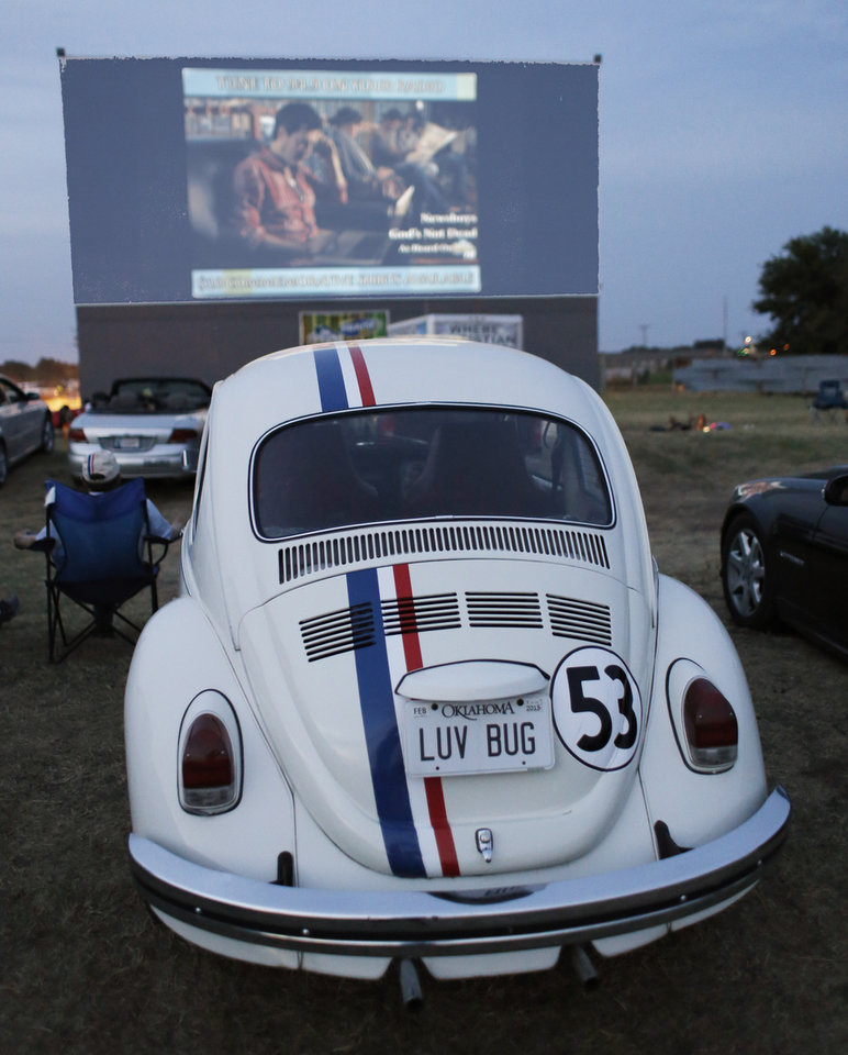 Photo - Volkswagon Beetle painted like Herbie the Love bug at the Airline Drive-in movie theater in Ponca City Thursday, August 14, 2014. Photo by Doug Hoke, The Oklahoman