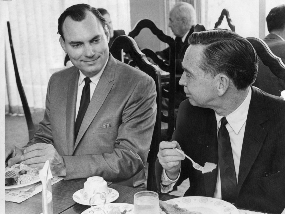 Photo - House Majority Leader Carl Albert, right, shares a bite to eat with State Sen. Gene Stipe, D-McAlester, during a break in Stipe's tax evasion trial in July of 1968.  Staff photo by Tony Wood taken 7/17/68; photo ran in the 7/18/68 Daily Oklahoman.