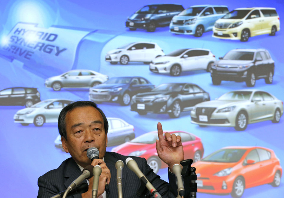Photo - Takeshi Uchiyamada, vice chairman of Toyota Motor Corp., speaks during a press conference at its headquarters in Tokyo, Wednesday, April 17, 2013. Toyota's global sales of gasoline-electric hybrid vehicles have surpassed 5 million in a milestone for a technology that was initially greeted with skepticism. The Japanese automaker, which said Wednesday it had sold 5.125 million hybrid vehicles as of the end of March, started selling the Prius, the world's first mass produced hybrid passenger car, in 1997. (AP Photo/Shuji Kajiyama)