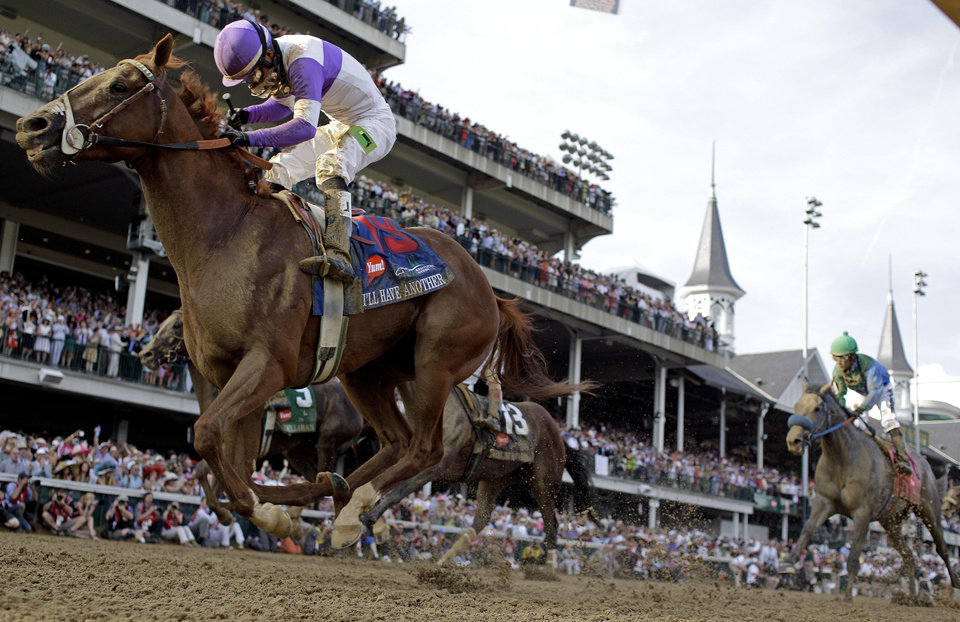 Jockey Mario Gutierrez rides I\'ll Have Another to victory in the 138th Kentucky Derby horse race at Churchill Downs Saturday, May 5, 2012, in Louisville, Ky. (AP Photo/David J. Phillip) ORG XMIT: DBY183