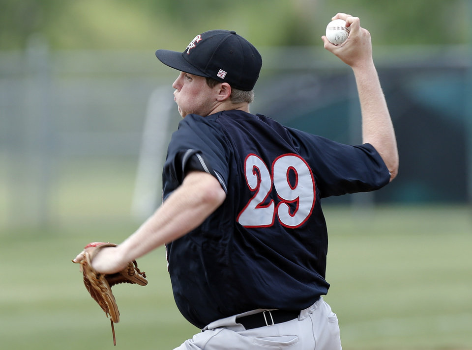 Carl Albert\'s Gavin Lavalley pitches during the 5A high school baseball state championship tournament at Edmond Memorial High School in Edmond, Okla., Friday, May 10, 2013. Photo by Sarah Phipps, The Oklahoman