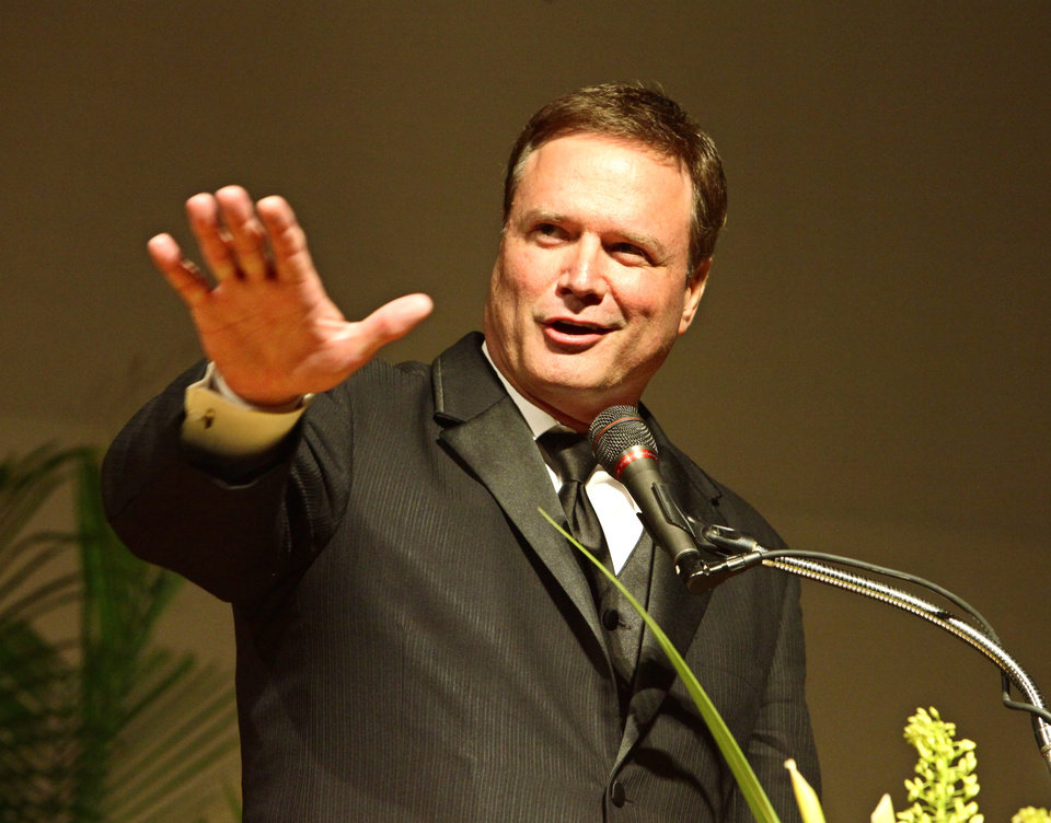 Oklahoma Sports Hall of Fame inductee Bill Self, Jr. speaking at the banquet, Monday, August 5, 2013. Photo by David McDaniel, The Oklahoman