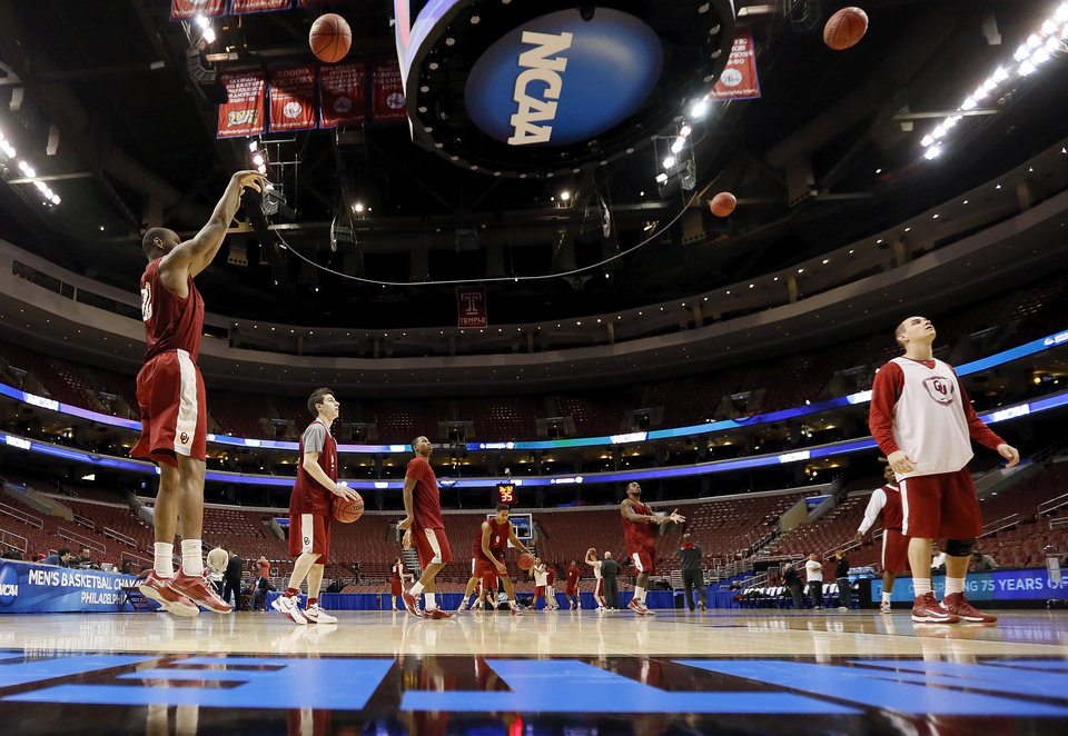 The Oklahoma Sooners shoot the ball during the practice and press conference day for the second round of the NCAA men\'s college basketball tournament at the Wells Fargo Center in Philadelphia, Thursday, March 21, 2013. OU will play San Diego State in the second round on Friday. Photo by Nate Billings, The Oklahoman