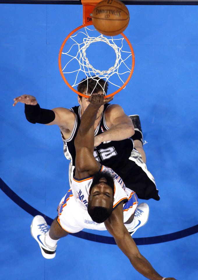 during Game 3 of the Western Conference Finals between the Oklahoma City Thunder and the San Antonio Spurs in the NBA playoffs at the Chesapeake Energy Arena in Oklahoma City, Thursday, May 31, 2012.  Photo by Sarah Phipps, The Oklahoman