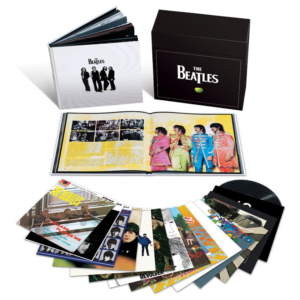 "Photo - The limited  edition Beatles' ""Stereo Vinyl Remasters"" box set, containing all 14 of the Fab Four's official album releases, cut from last year's digital remasters and complete with original album artwork and inserts."