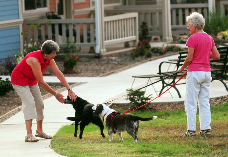 Photo - Kay Stewart (left) plays with the dogs of Donna Scharz (right) as they prepare a night of music and socialization at the Oakcreek Cohousing Community on Sept. 12, 2013 in Stillwater, Okla. Photo by KT King/For the Oklahoman