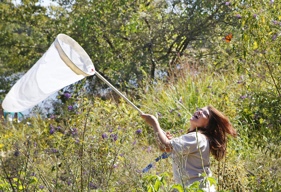 Stacey Sekscienski, curator of the butterfly garden, tries to catch the monarch butterflies (above her head) for tagging at the Oklahoma City Zoo, Thursday, October 7,12010. Photo by David, The Oklahoman
