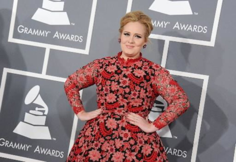Adele arrives at the 55th annual Grammy Awards on Sunday, Feb. 10, 2013, in Los Angeles. (AP)