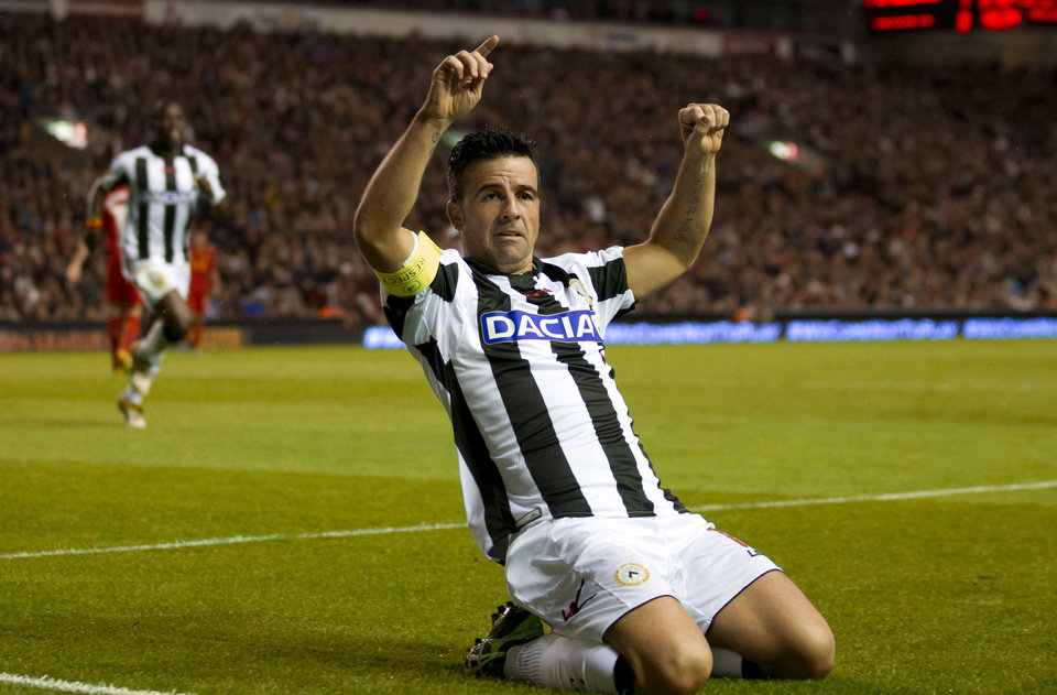 Photo -   Udinese's Antonio Di Natale celebrates after scoring against Liverpool, during their Europa League Group A soccer match at Anfield Stadium, Liverpool, England, Thursday Oct. 4, 2012. (AP Photo/Jon Super)