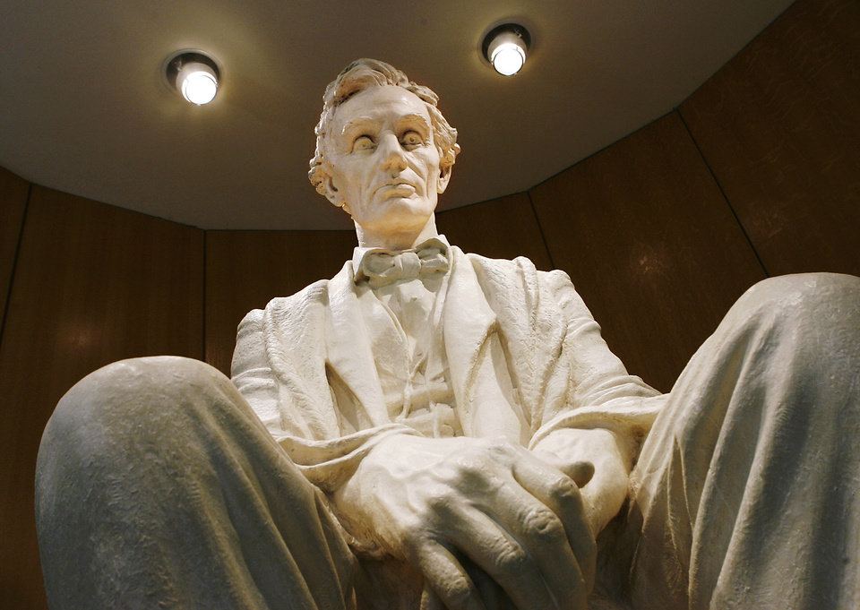 Large statue of Abraham Lincoln by sculptor James Earle Fraser on display at the National Cowboy & Western Heritage Museum in OKlahoma City Tuesday afternoon, Feb. 10, 2009 BY JIM BECKEL, THE OKLAHOMAN