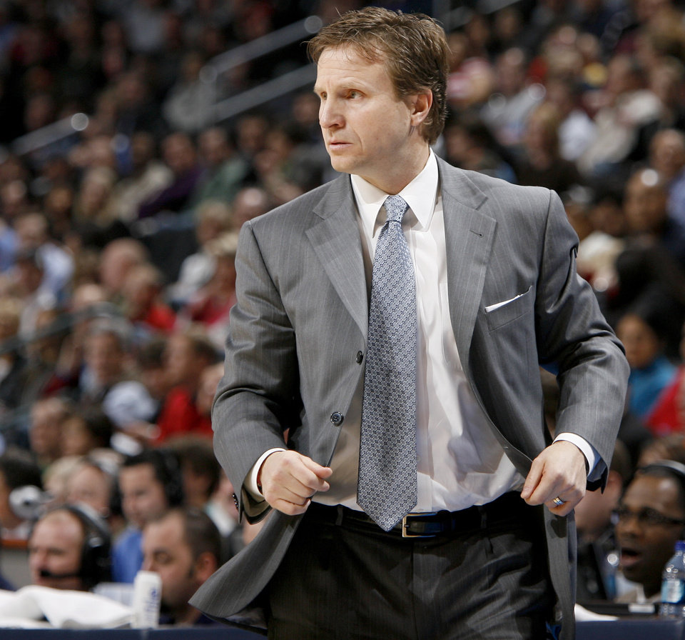 Oklahoma City coach Scott Brooks watches the Thunder during the NBA basketball game between the Oklahoma City Thunder and the San Antonio Spurs at the Ford Center in Oklahoma City, Wednesday, January 13, 2010. Photo by Bryan Terry, The Oklahoman