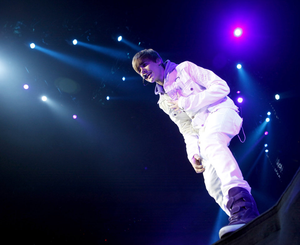 Justin Bieber performs at the Oklahoma City Arena on Wednesday, Nov. 3, 2010.  Photo by Bryan Terry, The Oklahoman