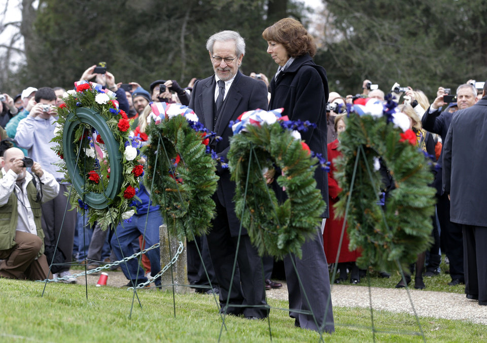 Director Steven Spielberg, left, and Janet Morgan Riggs, President of Gettysburg College, pause after laying a memorial wreath during a ceremony to mark the 149th anniversary of President Abraham Lincoln's delivery of the Gettysburg Address at Soldier's National Cemetery in Gettysburg, Pa., Monday, Nov. 19, 2012. (AP Photo/Patrick Semansky)