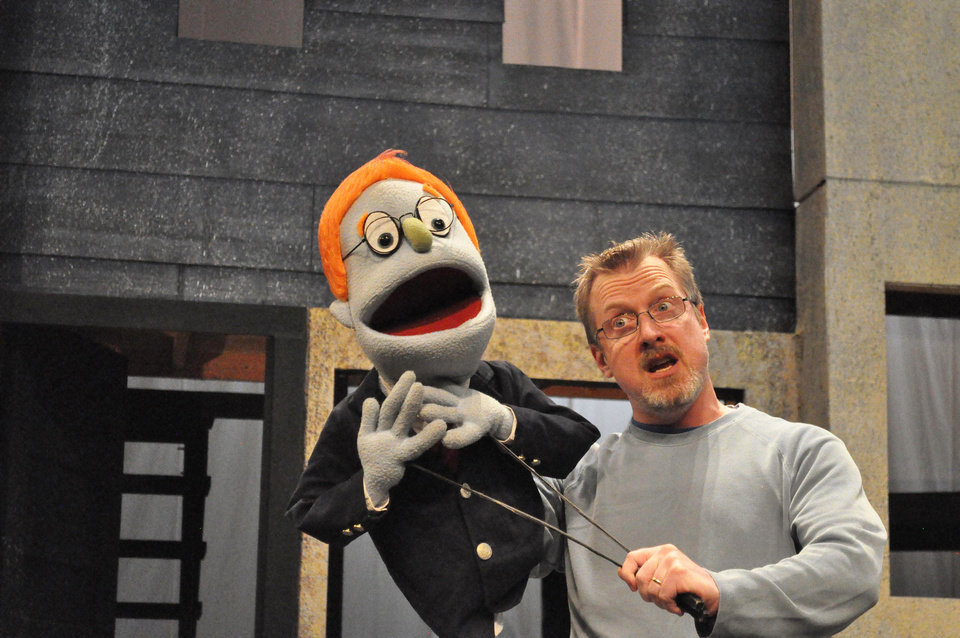"Actor Lane Fields rehearses for ""Avenue Q."""