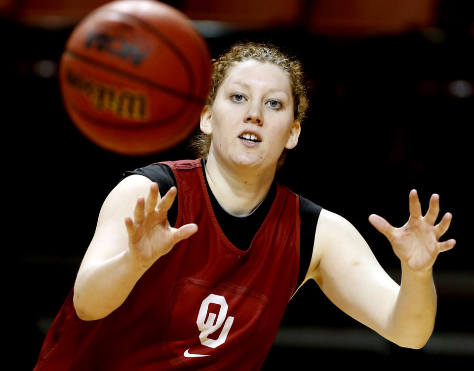 Joanna McFarland practices as the University of Oklahoma Sooners (OU) women's college basketball prepares for the NCAA tournament at The Lloyd Noble Center on Wednesday, March 27, 2013  in Norman, Okla. Photo by Steve Sisney, The Oklahoman